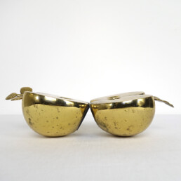 "Hollywood Regency Set of Two Bookends in Brass Apple Halves Marked ""Apko"""