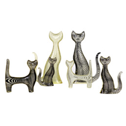 Mid-Century Modern Set of Six Cats in Lucite Made by Abraham Palatnik