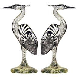 Mid-Century Modern Pair of Extra Large Herons in Lucite Made by Abraham Palatnik