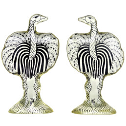 Mid-Century Modern Pair of Ostriches in Lucite Made by Abraham Palatnik