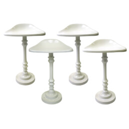 Mid-Century Modern Set of 4 Saddle Shaped Bar Stools Made of White Metal