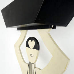Postmodern Art Deco Style Plant Stand in the Shape of an Elegant Lady