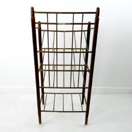 Art Deco Wood and Brass Magazine Stand by Ernst Rockhausen & Söhne