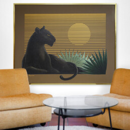 Impressive Painting of a Black Panther at Sunset by Franco for Artmeister Studio