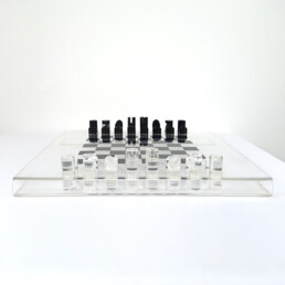Postmodern Lucite or Plexiglas Black and White Chess Set