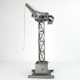 Mid-Century Modern Silver Colored Tinplate Miniature Crane