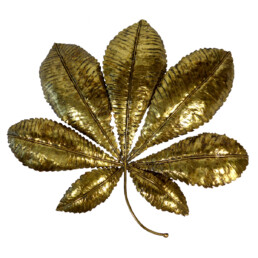 Hollywood Regency Brass Sconce in the Shape of a Chestnut Tree Leaf