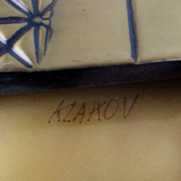 Brutalist Gold Colored Wall Object in the Style of Paul Vanders Signed Klakov