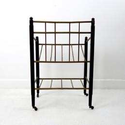 Art Deco Wood and Brass Magazine Stand on Wheels by Ernst Rockhausen & Söhne
