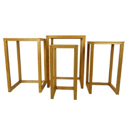 Set of Four Elegant Mid-Century Modern Oakwood Nesting Tables or Plant Stands