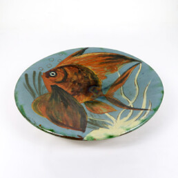 Ceramic Wall Plate with Fish Decor Signed by Spanish Maker Puigdemont