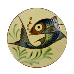 Set of 3 Ceramic Wall Plates with Fish Decor Signed by Spanish Maker Puigdemont