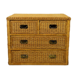 Colonial Style Rattan Low Chest of Drawers with Brass Handles