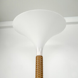 Mid-Century Modern Floor Lamp with Braided Rattan Base and White Witch Hat Shade