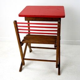 Antique Elegant and Decorative Foldable Wooden Children's Desk and Seat