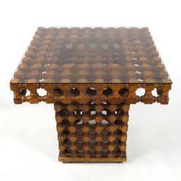 Antique Wooden Moroccan Coffee or Side Table in Mashrabiya Style