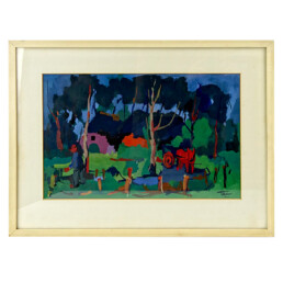 Expressionist Oil Painting of a Farmers Yard in Fauvist Style by Henri Titselaar