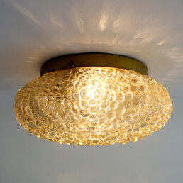 Mid-Century Modern Glass and Brass Flushmount in the Style of Helena Tynell
