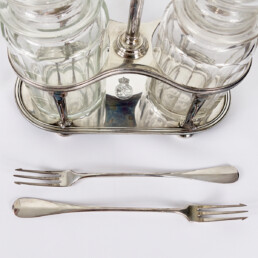 Antique Dutch Silver Plate and Crystal Pickle Set from Royal Dutch Lloyd