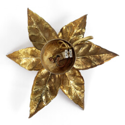 Hollywood Regency Brass Flower-Shaped Sconce or Flushmount by Willy Daro