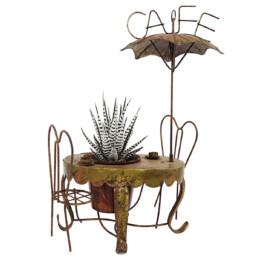 Decorative Brass Miniature of a Parisian Sidewalk Café Table, Chair and Parasol