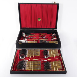 70 Piece Cutlery Set Made of 24 Carat Gilded Stainless Steel in Cassette by SBS