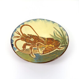 Ceramic Wall Plate with Lobster Decor Signed by Spanish Maker Puigdemont