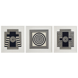 Op-Art Set of Three Wooden Panels with Black and White Reliëf Geometric Patterns
