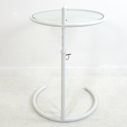Modernist White Steel Tubular Side Table E1027 by Eileen Gray for Classicon