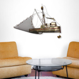 """Hollywood Regency Extra Large Brass Fishing Boat """" Maria """" by Curtis Jeré"""