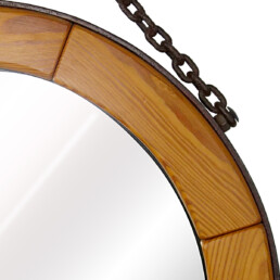 Mid-Century Modern Round Wall Mirror with Segmented Wooden Frame and Steel Chain