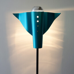 Post-Modern Metal Floor Lamp with Blue Bird-Shaped Shade by Bjart Rhenen