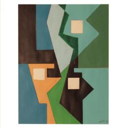 Constructivist Oil on Canvas Painting by Dutch Artist Estella den Boer
