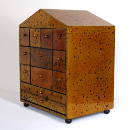 Hollywood Regency Small Chest of Drawers Made of Gold Lacquered Wood