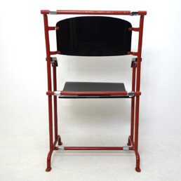 Modernist Folding Chair by Gerrit Rietveld for Hopmi in Red Metal and Black Wood