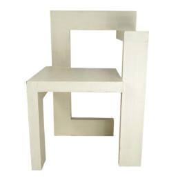 Modernist White Wooden Chair