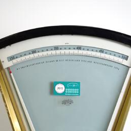 Mid-Century Modern Kitchen Scale by Olland De Bilt Nederland in Gold and Chrome